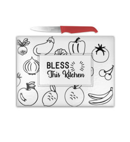 Cutting Board - Bless this Kitchen Black & White