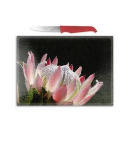 Cutting Board – Protea on Black Background